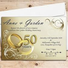 50th Anniversary Party Invitations 10 Personalised Elegant Golden 50th Wedding Anniversary Party Invitations N1 Ebay
