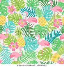 pineapple and flamingo background. flamingo, hibiscus, pineapple and tropical leaf seamless pattern background flamingo r