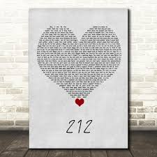Azealia Banks 212 Grey Heart Song Lyric Quote Music Print -  SongLyricPrints.co.uk