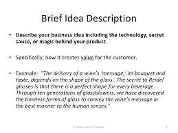 Business Brief Example Pckiz Business Idea Challenge Content Sample Template