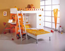 ... Cozy Bedroom Interior Design With Cool Bunk Beds For Kids Decorating  Ideas : Top Notch Orange ...