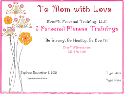 Personal Training Gift Certificate Template Get Mom Moving With EverFit Personal Training Brighton Personal 20