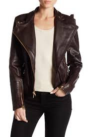 image of vince camuto asymmetrical zip genuine lamb leather moto jacket