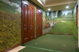 mural custom design handmade hand painted golf scene yard course putting green pine ridge basement putt