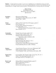 College Admission Resume Template Jospar