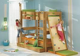 Wood childrens beds with indoor rock climbing board, modern kids room  designs