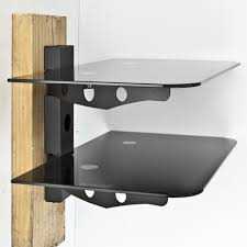 ... Wall Shelves For Stereo Equipment Black Tempered Glass With Metal Stand  And Cable Management 2 Shelf ...