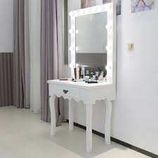 Details About White Dressing Table Led Bulbs Mirror Set Bedroom Makeup Desk Hollywood Style
