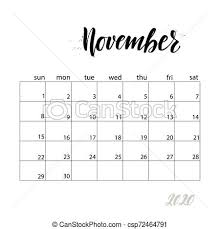 November 2020 Calendar Clip Art Calendar Handwritten Modern Calligraphy Headlines