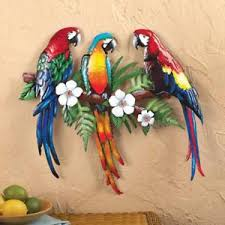tropical bird metal wall art