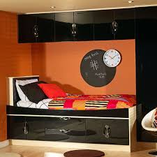 fitted bedrooms ideas. Black Gloss Finished Overhead Storage Compartments With Blackboard Completing The Modern Look To This Small Kids Fitted Bedrooms Ideas U