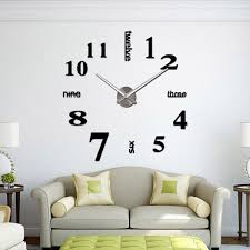 large black 3d frameless wall clock stickers diy decoration for living room