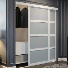 frosted glass sliding closet door in