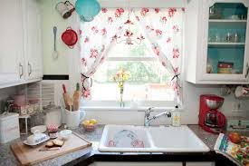 Shabby chic kitchen curtains with red floral pattern ideas