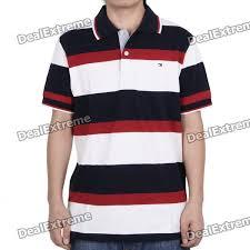fashion horizontal stripe short sleeves polo shirt t shirt dark blue red white size l