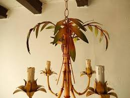 french mid century 1950 tole palm tree chandelier for