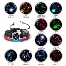 Us 1 03 45 Off Punk Men Bracelet Astrology Chart Zodiac Black Braided Leather Bracelet Taurus Aries Scorpio Woven Glass Jewelry Couple Gifts In