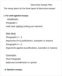 essay plan templates sample example format  discursive essay plan