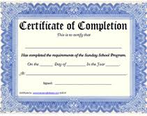 Free Online Printable Certificates Of Achievement Printable Sunday School Program Certificate Of Completion