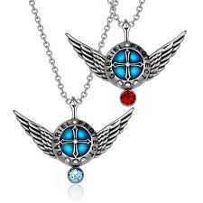 angel wings archangel gabriel love or best friends set charms sky blue and red pendant necklaces