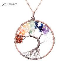 chakra stone necklace 7 tree of life pendant necklace copper crystal natural stone necklace women gift chakra stone necklace stone necklace stone pendant
