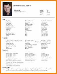 Sample Theatre Resumes Acting Resume Sample Actor Resume Sample Mentallyright Org