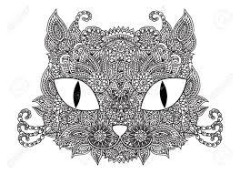 Hand Getekende Schets Vector Kat Snuit Illustratie Met Abstract
