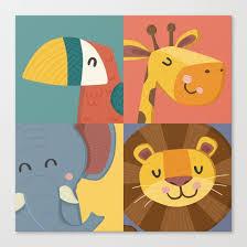 jungle animals wall art print nursery