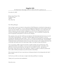 Appealing Sample Cover Letter For Pharmacy Technician Job 97 About