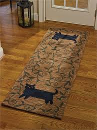 home hooked rugs pillows and runners cat hooked rug runner
