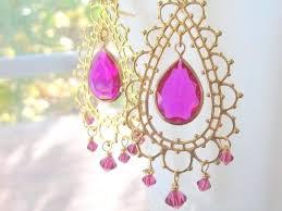 pink chandelier earrings image 0 pink stone chandelier earrings