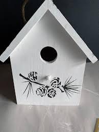 Birdhouse Stencils Designs Wooden Birdhouse Stencil Makeover Stencil 1