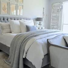 grey white bedding gray and white bedroom with tufted headboard and chunky throw blanket black white grey and yellow bedding