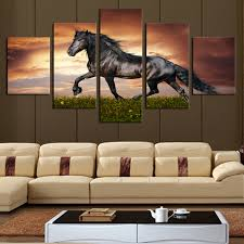 5 panel large hd black horse onthe grass canvas print painting for living room modern decoration