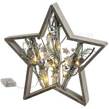 Weihnachtlicher Stern Holz Mit ästen Kugeln Leds Fensterdekoration 39x6x39 Cm Matches21