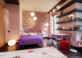 cool floor lamps for teens. Awesome Teen Bedroom Wiht Purpple Bed Cover Flower Wallpaper Wooden Floor With Desk And Pendant Lamp Image Cool Lamps For Teens