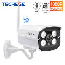 Techege HD 1080 P Kablosuz SD Kart Yuvası Ses Kamera 2.0MP Wifi Güvenlik  Kamerası IR