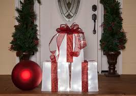 Lighted Stacked Christmas Gift Boxes Plastic Container Lighted Gift Box
