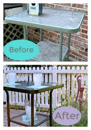 before and after image outdoor bar height table themed makeover day white