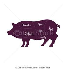 Pork Meat Cuts Chart Pig Pork Meat Cuts Butcher Vector Icon