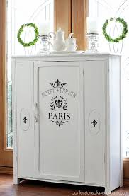 antique cabinet makeover in pure white diy chalk paint from confessions of a serial do