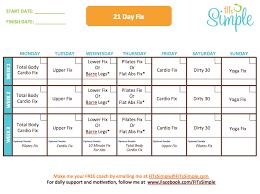 21 Day Fix Calendar Calendar Yearly Printable
