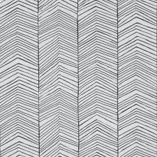 Ferm Living Behang Herringbone Zwart Wit Papier 53x1000cm