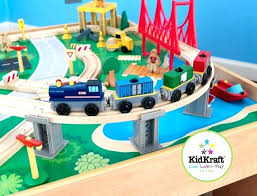 kidkraft train table wooden train set waterfall mountain train set and table children wooden train