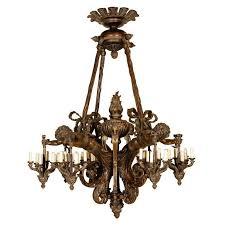 antique chandelier wood and bronze chandelier with cherubs for