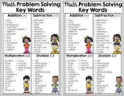Math Word Problem Key Words Chart Key Words Used In Math Word Problems Anchor Chart With Cards For Students