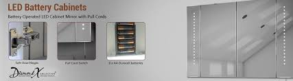 Battery Operated Bathroom Mirror Battery LED cabinet