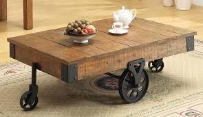 image of distressed wood coffee table on wheel