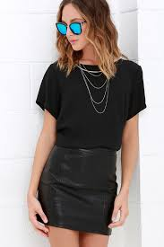 cyberspace black vegan leather mini skirt