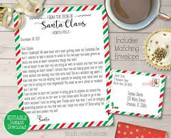 Personalized Letter From Santa Printable Customized